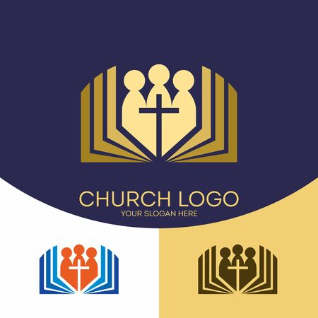 Church logo. Christian symbols. Christian symbols. Believers in the Lord Jesus Christ and the Holy Bible. Ilustração