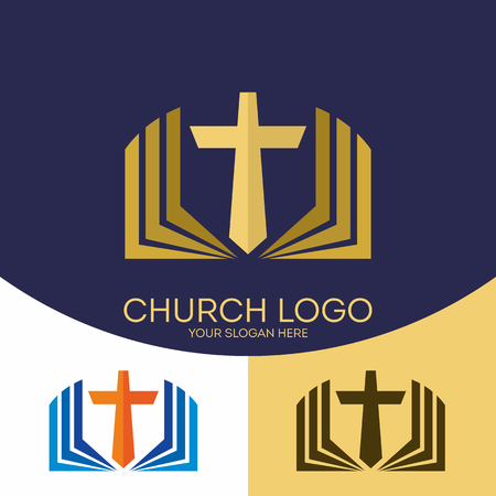 Church logo. Christian symbols. The cross of Jesus Christ and the Holy Scriptures.