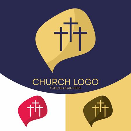 Church logo. Christian symbols. Three crosses Illusztráció