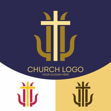 the christian religion: Church logo. Christian symbols. The cross of Jesus Christ, and graphic elements Illustration