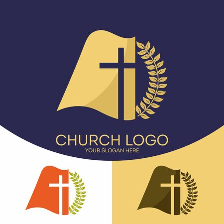 the scriptures: Church logo. Christian symbols. The cross of Jesus Christ and the Holy Scriptures.