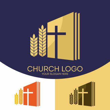 教会のロゴ。キリスト教のシンボル。聖書は、イエス ・ キリストと成熟した滑車のクロス