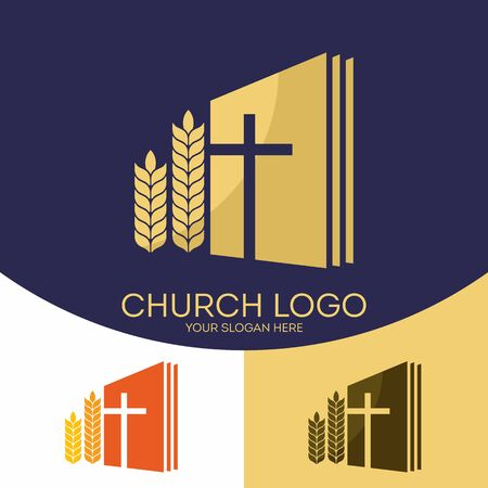 Church logo. Christian symbols. The Holy Bible, the cross of Jesus Christ and mature sheaves Ilustração