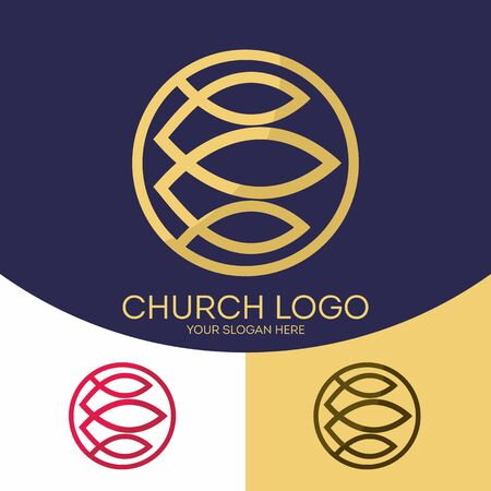 gospel: Church logo. Christian symbols. Fish - a symbol of Jesus Christ and those who believe in the Father and Son and Holy Spirit