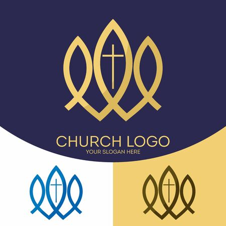 encouraging: Church logo. Christian symbols. The cross of Jesus Christ and the fish - Christian signs
