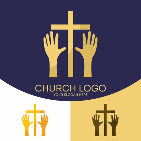 glorify: Church logo. Christian symbols. The cross of Jesus Christ, the hands that worship the Lord and glorify the Savior. Illustration