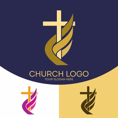Logotipo de la iglesia. símbolos cristianos. La cruz de Jesucristo, la llama - un símbolo del Espíritu Santo. Foto de archivo - 70875876