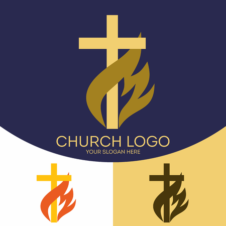 Church logo. Christian symbols. The cross of Jesus Christ, the flame - a symbol of the Holy Spirit. Ilustracja