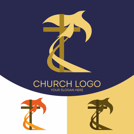 Church logo. Christian symbols. The cross of Jesus Christ, and the dove of the Holy Spirit.