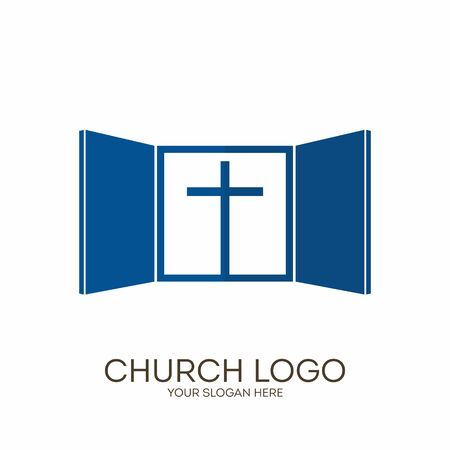 Church logo. Christian symbols. God gives us a window into the world of the Lord Jesus Christ, in the heavenly abode.
