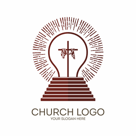 Church logo. Christian symbols. Being light and approached the steps of God, Jesus Christ shine.