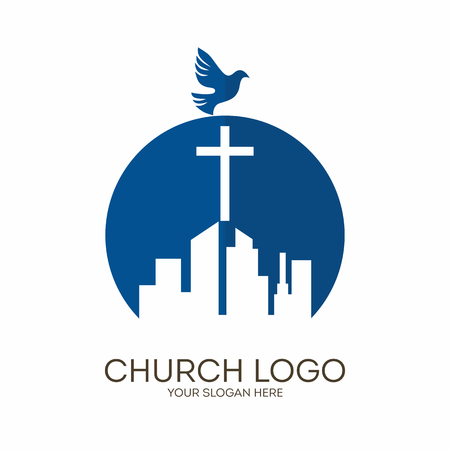 Church logo. Christian symbols. The Cross of Jesus Christ towers over the big city.