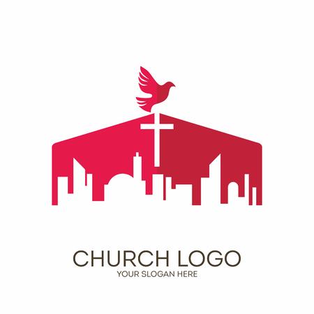 Church logo. Christian symbols. The Cross of Jesus Christ towers over the big city.