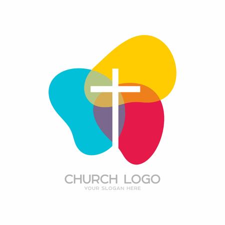 Kerk logo. Christelijke symbolen. Het kruis van Jezus Christus. Stock Illustratie