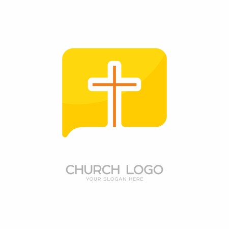 Church logo. Christian symbols. The cross of Jesus Christ and the symbol of communication.