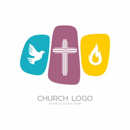 Church logo. Christian symbols. The cross of Jesus Christ, a dove - the Holy Spirit and flame.