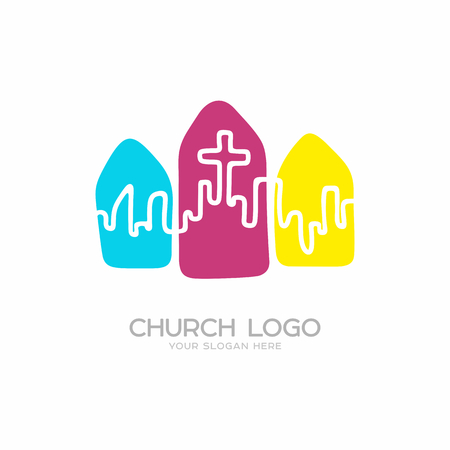 Church logo. Christian symbols. The city and the cross of Jesus Christ on the color elements. Ilustração