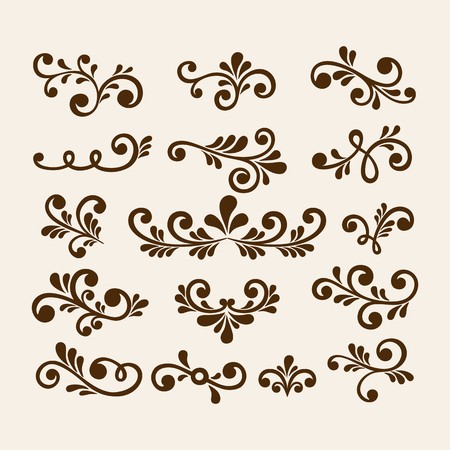 Vector hand draw vintage floral design elements. Flowers decorative elements. Floral elements for decoration set.