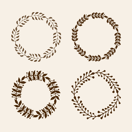 Hand drawn vector illustration - Laurels and wreaths. Design elements for invitations, greeting cards, quotes, blogs, posters and more. Perfect For Wedding Frames. 向量圖像