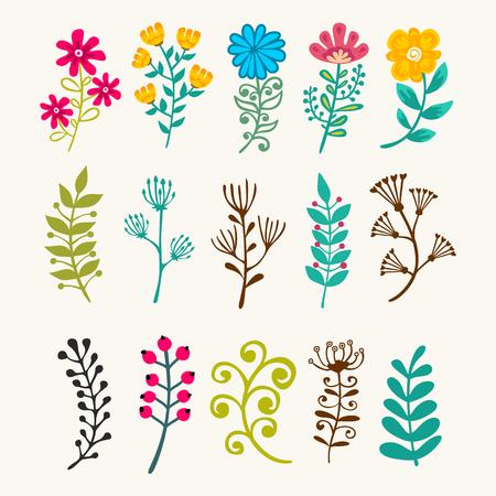 Vector bloemenelementen in krabbelstijl - bloemen en bladeren. Stock Illustratie