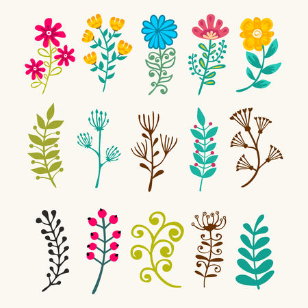 Vector floral elements in doodle style - flowers and leaves. 向量圖像