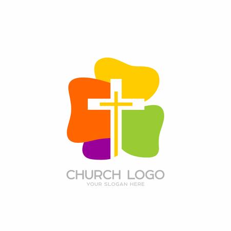 Logo de la iglesia. Símbolos cristianos. Cruz del Señor y Salvador Jesucristo.