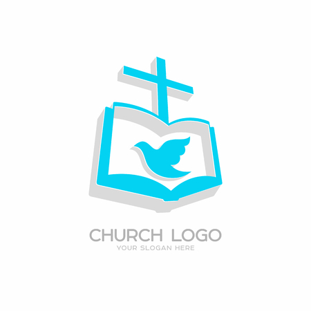 Church logo with Christian symbols, the gospel, the cross of Jesus Christ and the Holy Spirit.