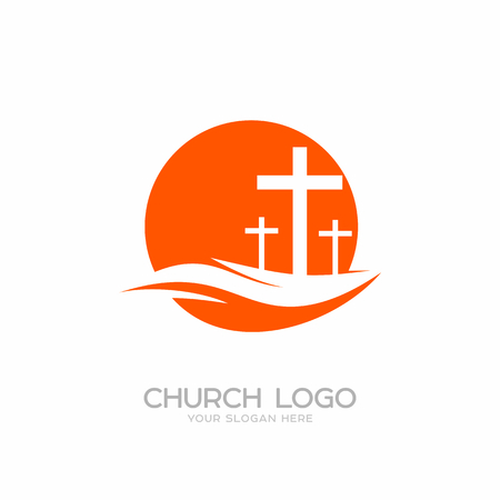 crosses: Church logo. Christian symbols. Three crosses on a hill.