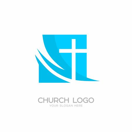 Church logo. Christian symbols. Cross of the Lord and Savior Jesus Christ. Illustration