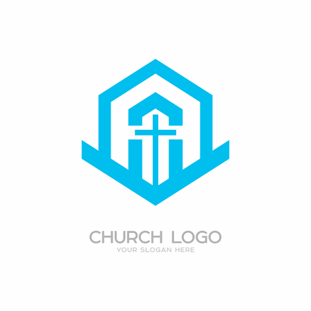 Church logo. Christian symbols. Cross of the Lord and Savior Jesus Christ, the building of the church.