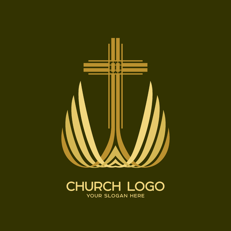Church logo. The cross of the Lord and Savior Jesus Christ and wings Illustration