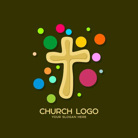 Church logo. Christian symbols. Cross of the Lord and Savior Jesus Christ. Stock Illustratie