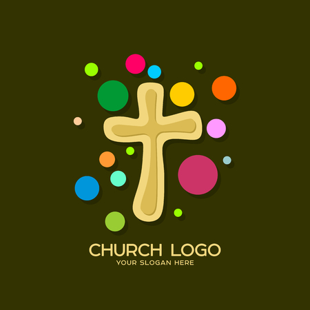 Church logo. Christian symbols. Cross of the Lord and Savior Jesus Christ. Vectores