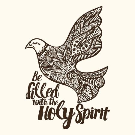 Christian lettering, doodle art, typography. Be filled with the Holy Spirit.
