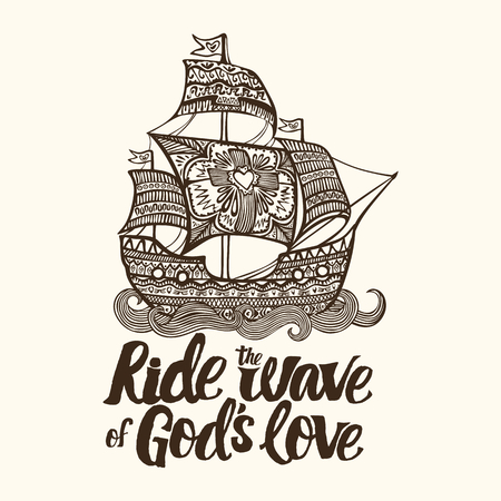 Christian lettering, doodle art, typography. Ride the wave of Gods love. 向量圖像