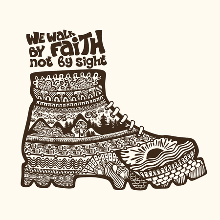 Christian lettering, doodle art, typography. We walk by faith not by sight.