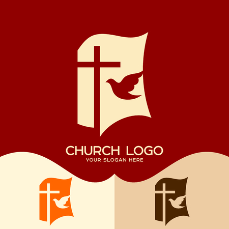 Church logo. Cristian symbols. Cross of Jesus, open bible and pigeon Illustration