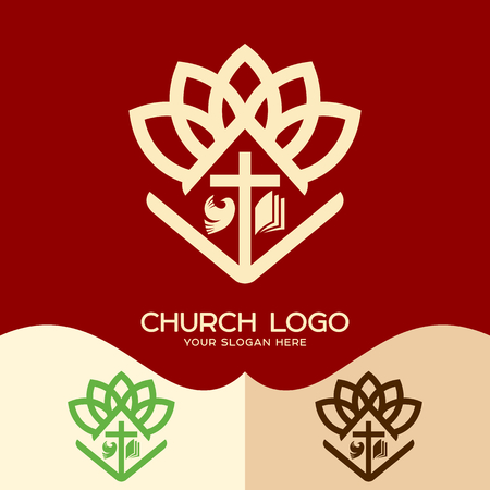 Church logo. Cristian symbols. Cross of Jesus, open bible and pigeon Ilustração