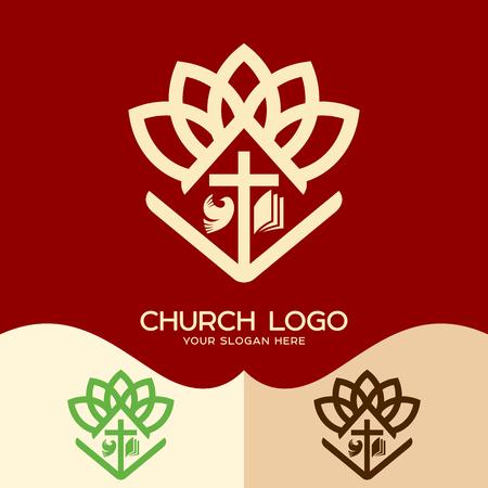 Church logo. Cristian symbols. Cross of Jesus, open bible and pigeon Vettoriali