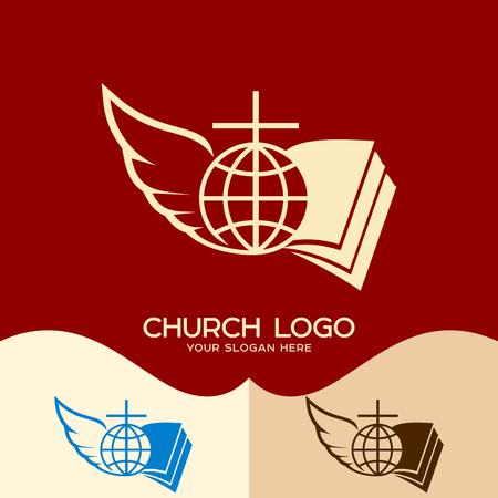 Church logo. Cristian symbols. Cross of Jesus, open bible, globe and angel wing Ilustração