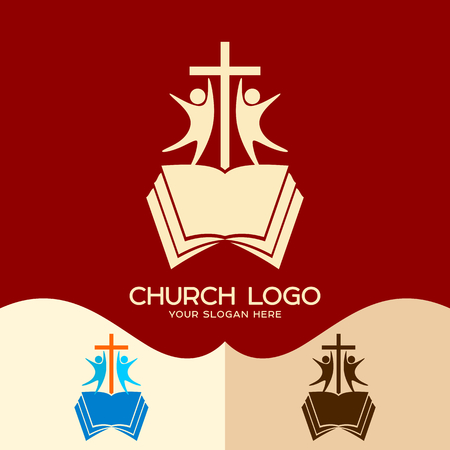 Church logo. Cristian symbols. The cross of Jesus, the open bible and people