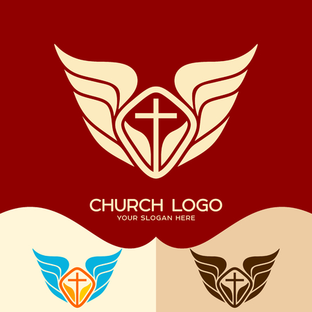 Church logo. Cristian symbols. The cross of Jesus and the wings of an angel Illustration
