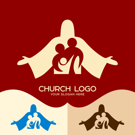 Church logo. Cristian symbols. Family in Christ Jesus 向量圖像