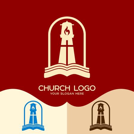 Church logo. Cristian symbols. Gods lighthouse and the Bible