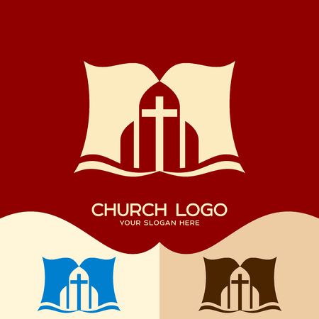 Church logo. Cristian symbols. The Bible and the Cross of Jesus Christ