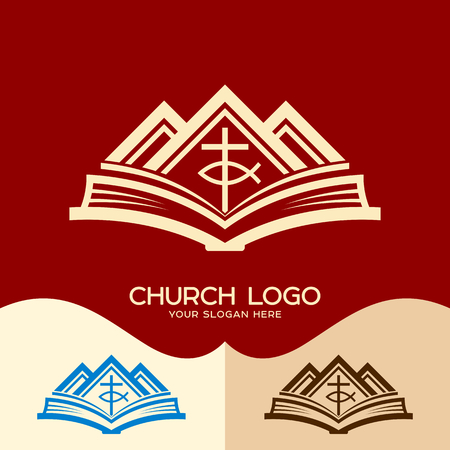 Church logo. Cristian symbols. Cross of Jesus, the Bible and the mountains Stock Vector - 78706199