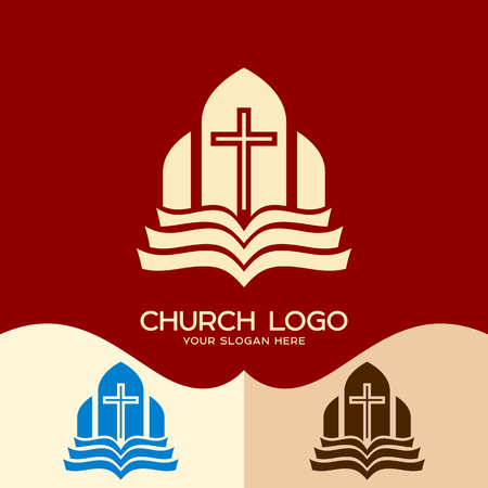 Church logo. Cristian symbols. The Cross and the Open Bible