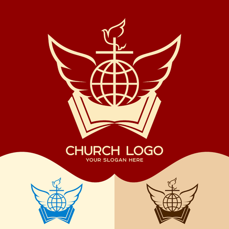 Church logo. Cristian symbols. Cross, open bible, globe, dove and angel wings Ilustração