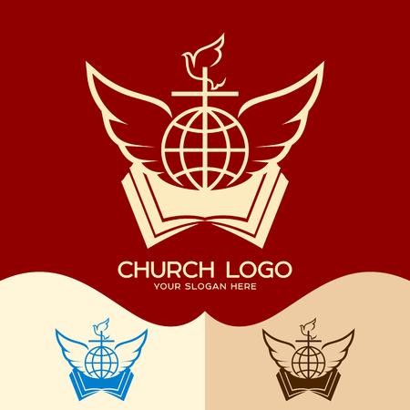Church logo. Cristian symbols. Cross, open bible, globe, dove and angel wings Illustration