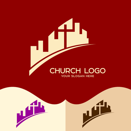Church logo. Cristian symbols. The Church of Jesus Christ in the middle of the city